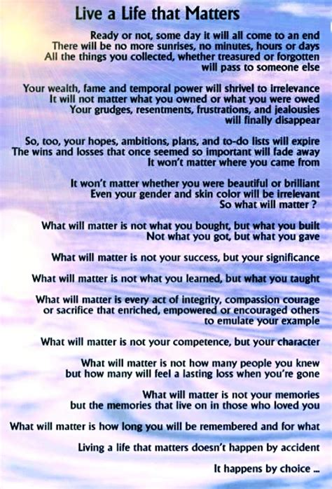 Live A Life That Matters By: Michael Josephson | Funeral