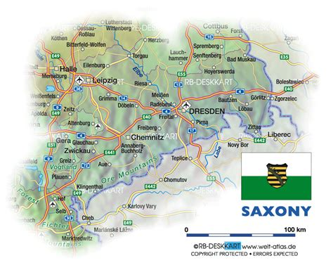 Map of Saxony (State / Section in Germany) | Welt-Atlas