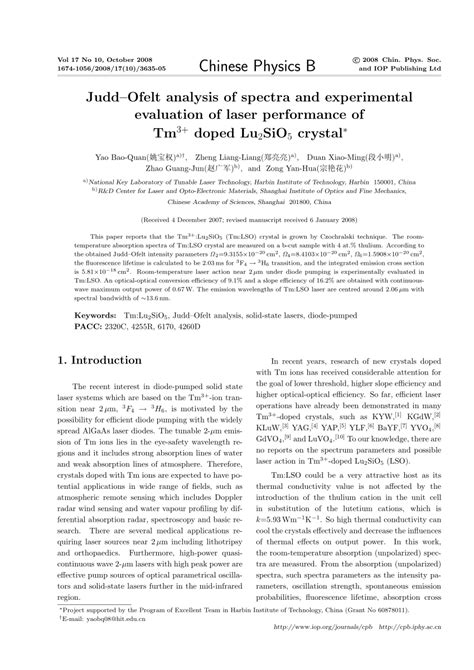 (PDF) Judd–Ofelt analysis of spectra and experimental
