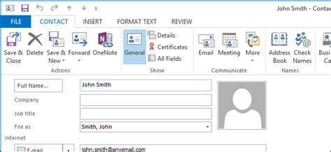 How to Open the Full Contact Editing Window in Outlook 2013