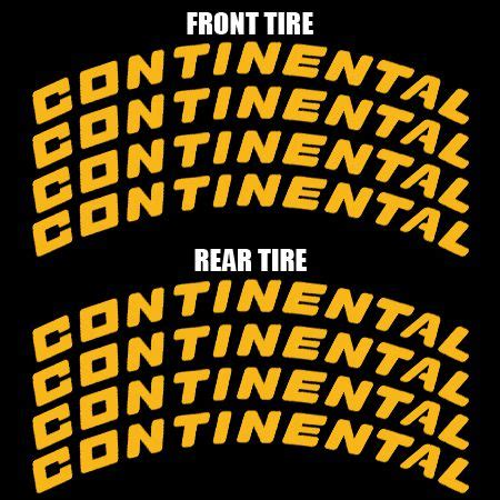 Continental Tire Letters - Yellow   TIRE STICKERS