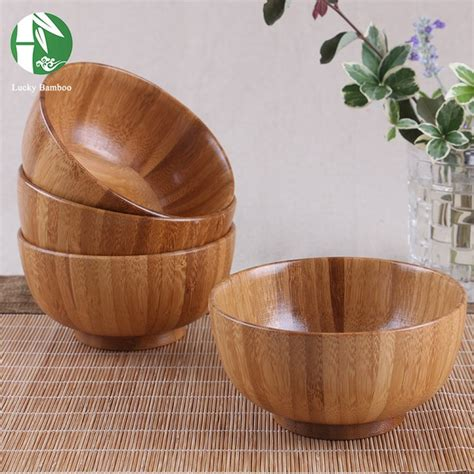Natural Wooden Bowl Chinese Food Containers Bamboo