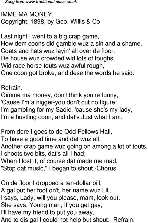 Old Time Song Lyrics for 60 I'mme Ma Money