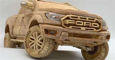 Amazingly detailed wooden Ford Ranger Raptor has a working
