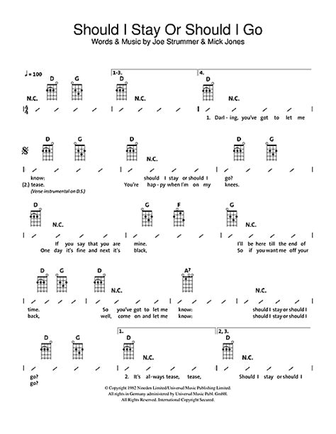 Should I Stay Or Should I Go sheet music by The Clash